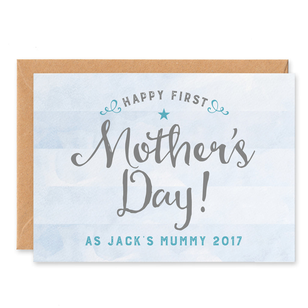 Blue stripy Personalised First Mother's Day Card