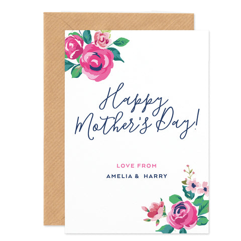 Vintage Rose Personalised Mother's Day Card