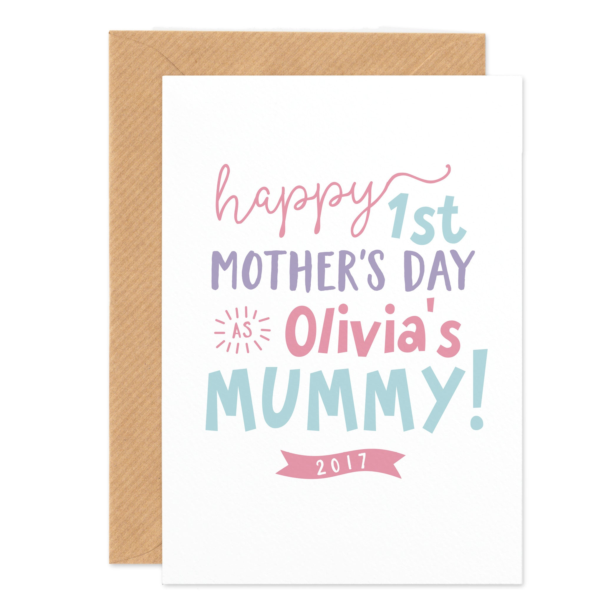 Pink Personalised First Mother's Day Card