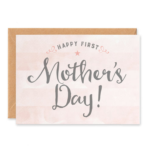 Pink stripy First Mother's Day Card