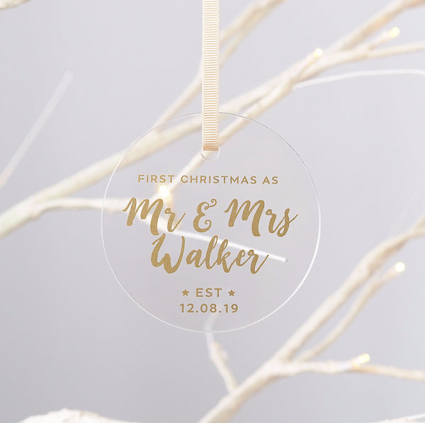 Personalised Mr & Mrs First Christmas Decoration