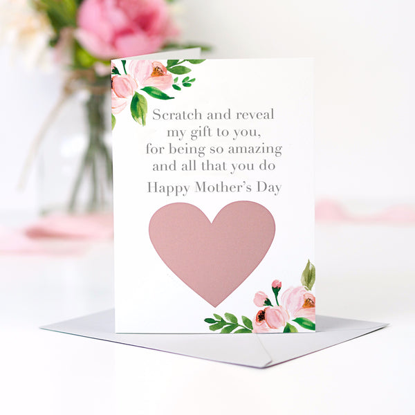 Floral scratch off to reveal surprise gift Mother's day card