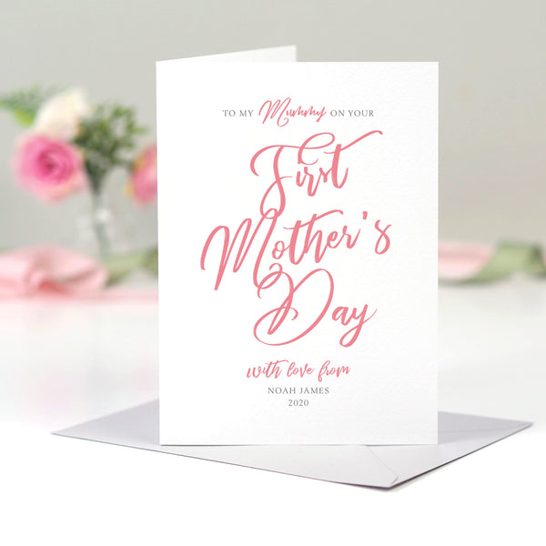 Personalised Script First Mother's Day Card