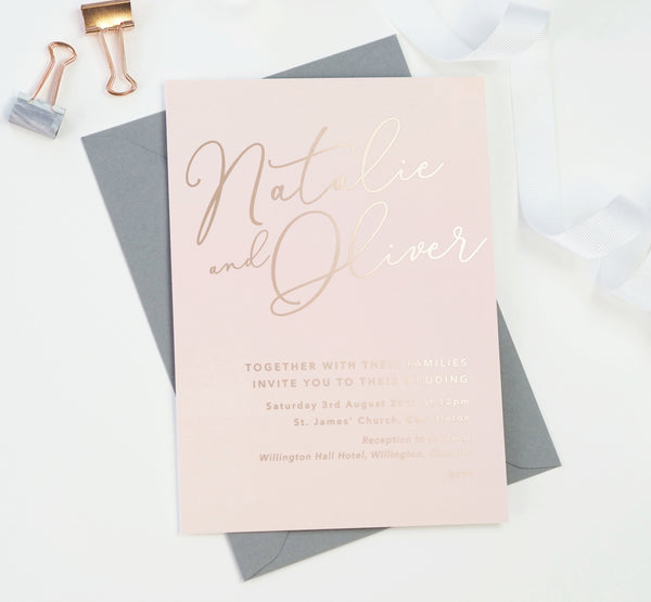Natalie blush foil printed wedding invitations