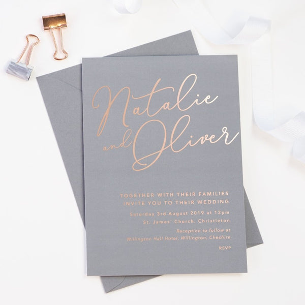 Natalie grey foil printed wedding invitations