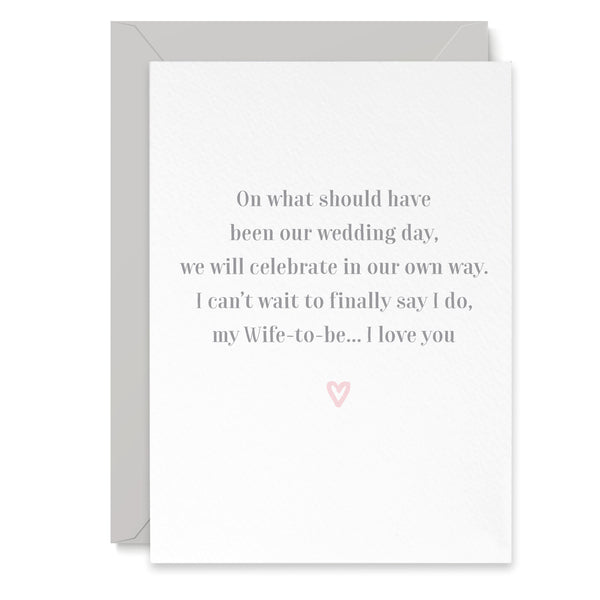 Wife To Be Postponement Wedding Day Card