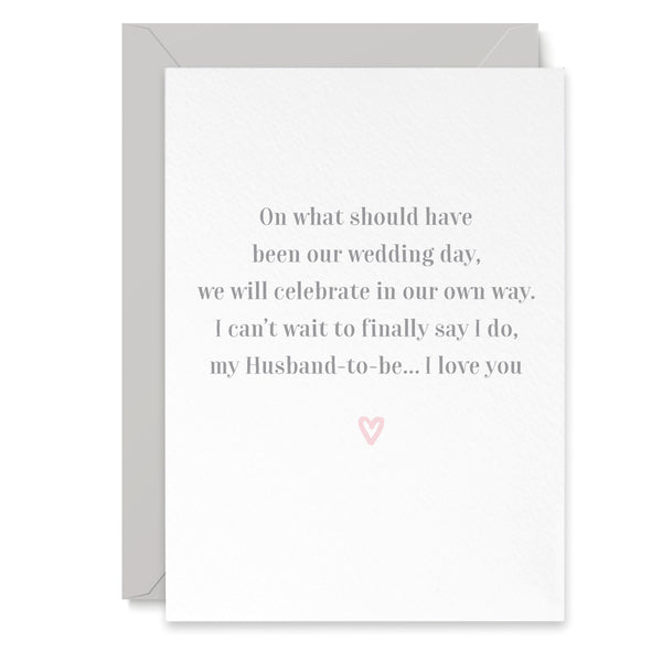 Husband To Be Postponement Wedding Day Card