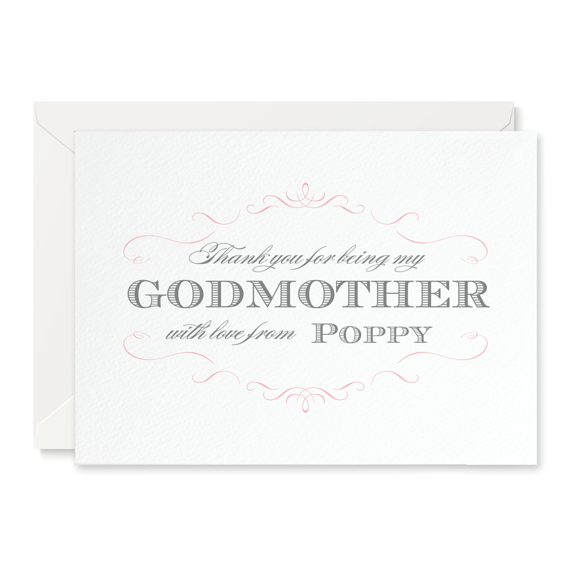 Personalised Olivia 'Thank you for being my Godparents' Card