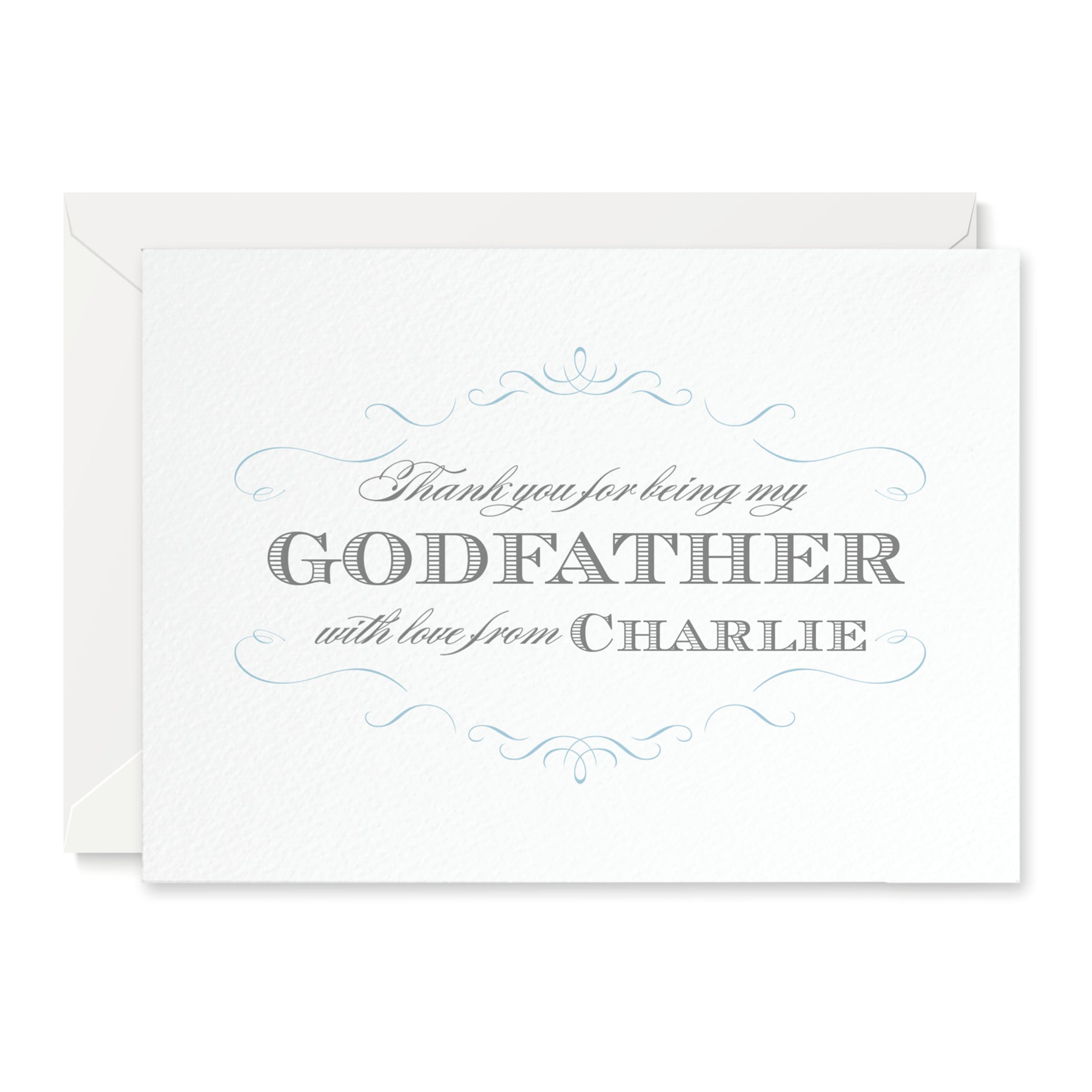 Personalised Olivia 'Thank you for being my Godfather' Card