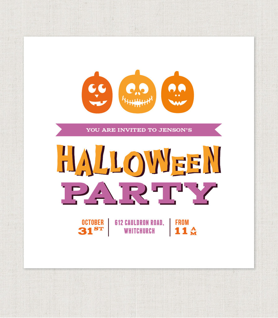 10 x Pumpkin Halloween personalised party invitations - Project Pretty