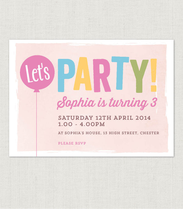 Let's Party! Birthday invitation - Project Pretty  - 1