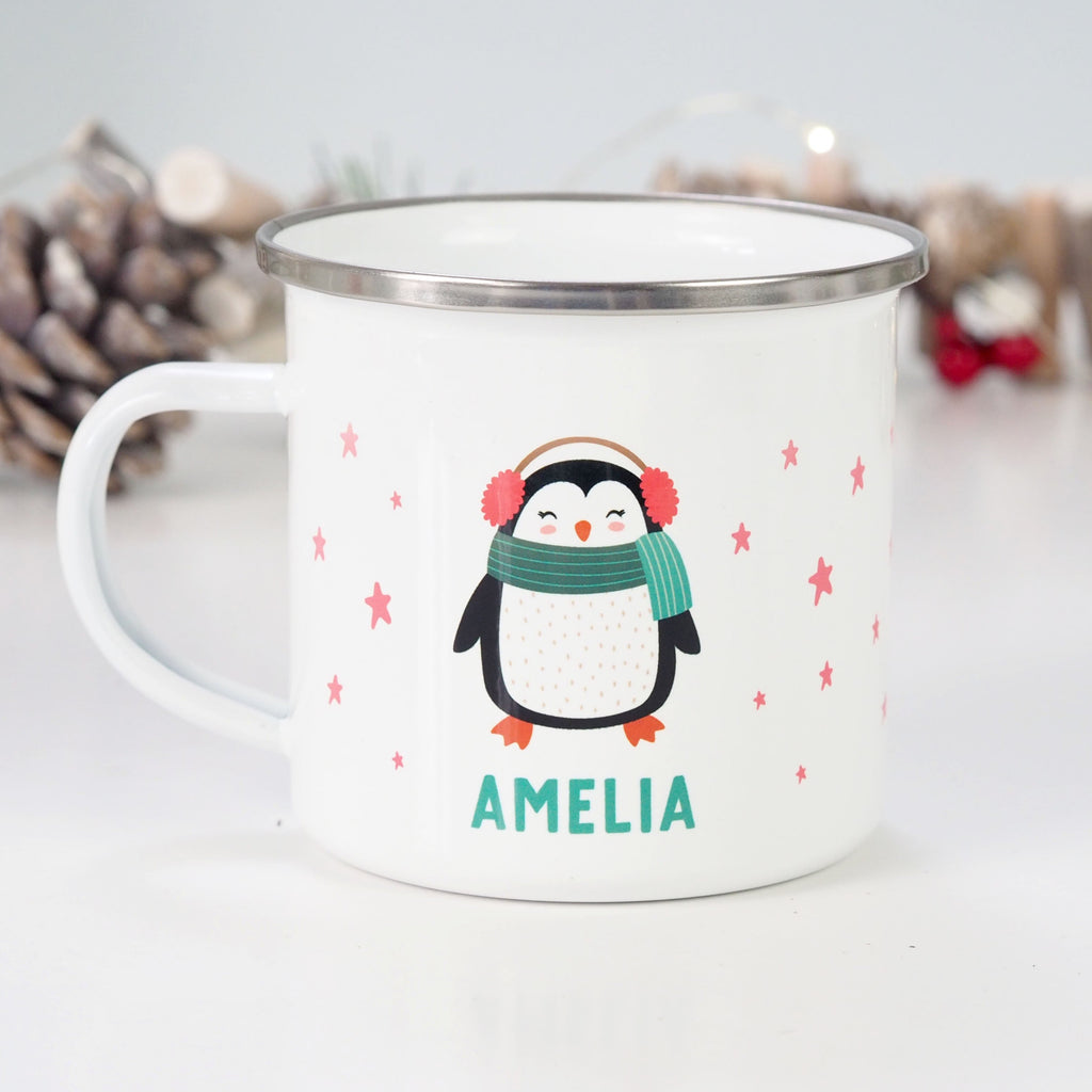 Personalised Christmas Penguin Enamel Mug