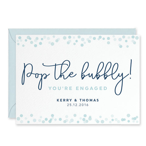 'Pop The Bubbly!' Personalised Engagement Congratulations Card