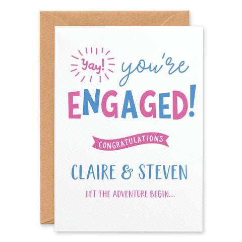 'Yay You're Engaged!' Personalised Congratulations Card