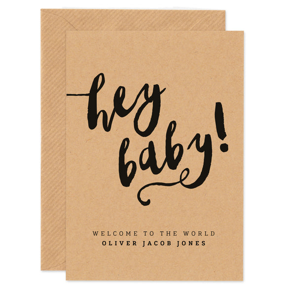 Personalised 'Hey Baby' new baby card - Project Pretty