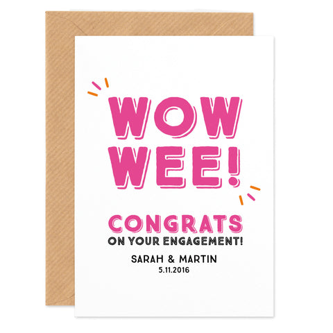 'Wow Wee!' Personalised Engagement Congratulations Card - Project Pretty