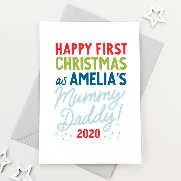 Personalised First Christmas As Mummy And Daddy Card