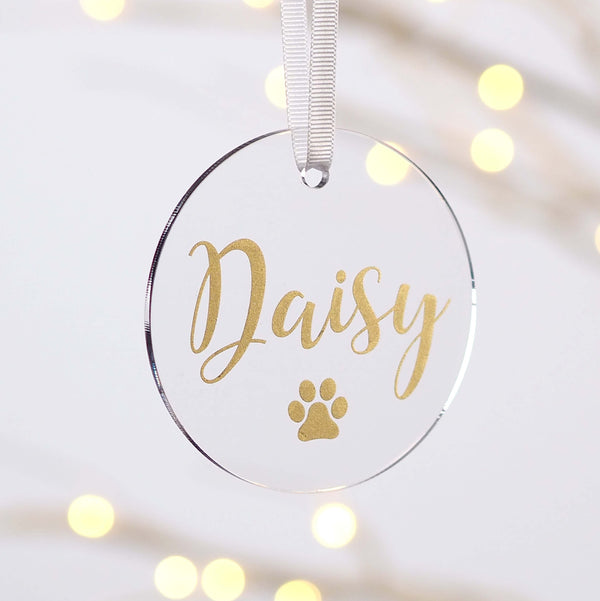 Personalised Dog Paw Print Acrylic Christmas Decoration