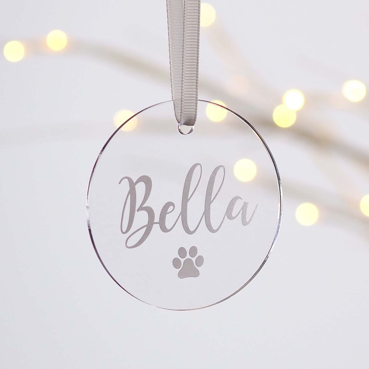 Personalised Dog Paw Print Acrylic Christmas Decoration Project Pretty