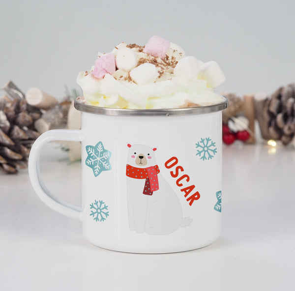 Personalised Christmas Polar Bear Enamel Mug