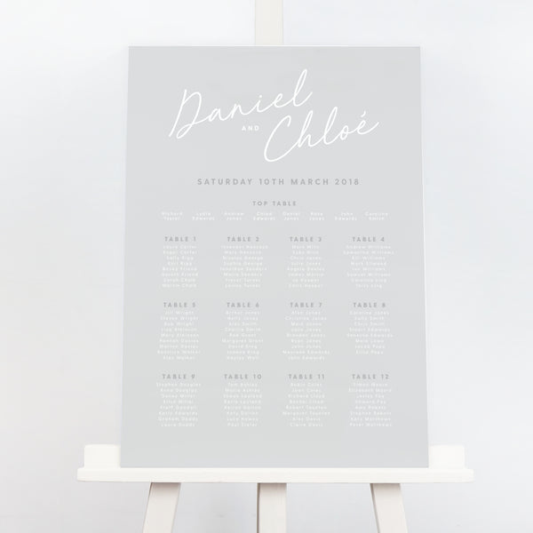 grey and white simplistic wedding table plan