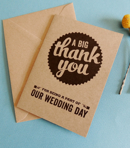 Pack of 10 Retro Wedding Thank You cards