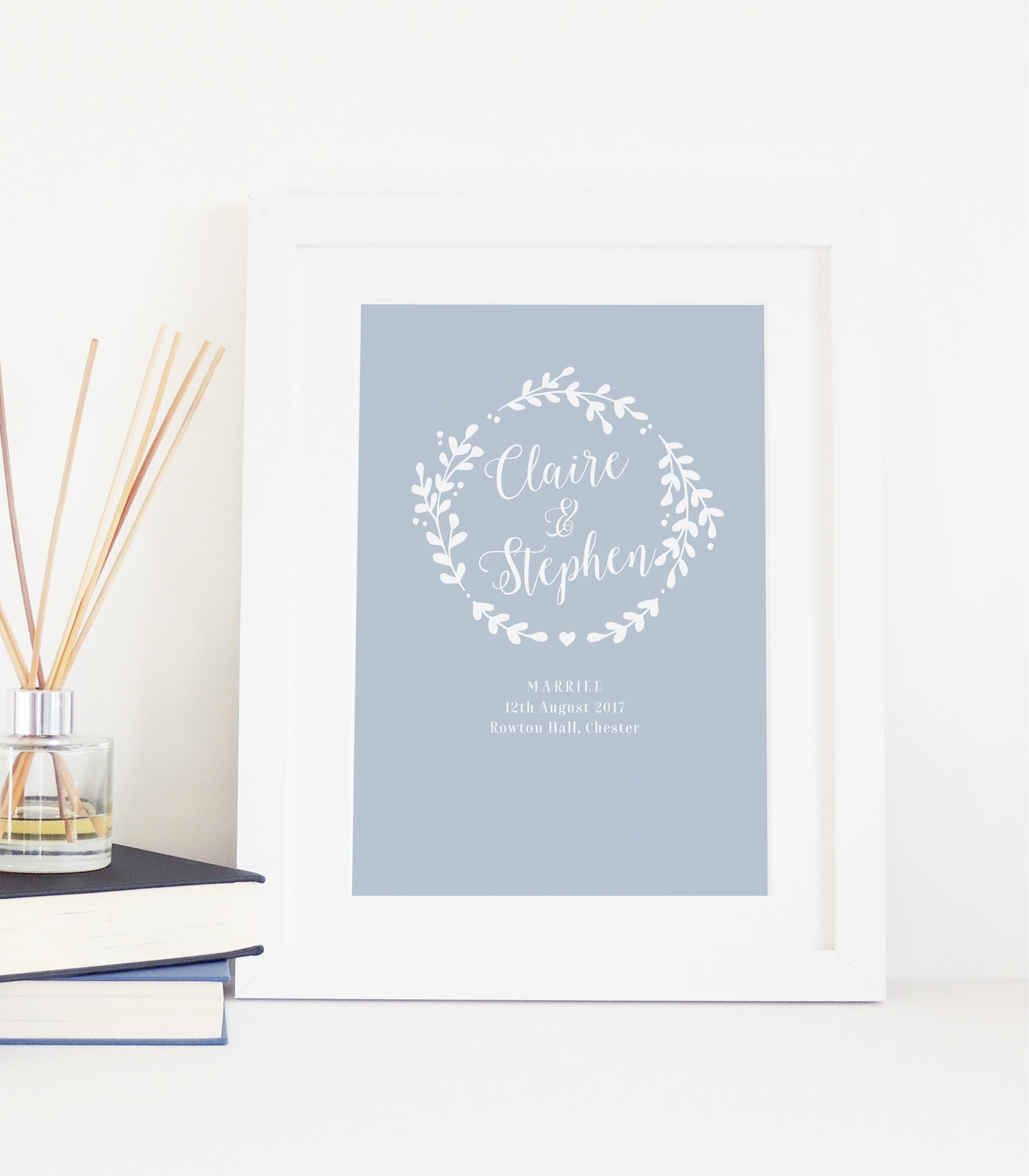 Personalised Wreath Wedding Print - Blue