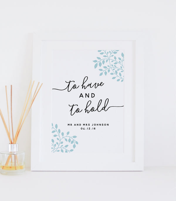 Personalised 'To Have And To Hold' Wedding Print - Duck egg blue