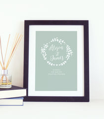 Personalised Wreath Wedding Print - Green