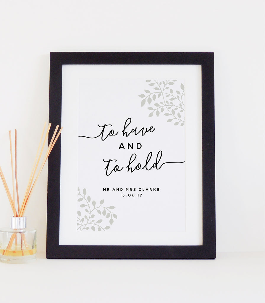 Personalised 'To Have And To Hold' Wedding Print - Moss green
