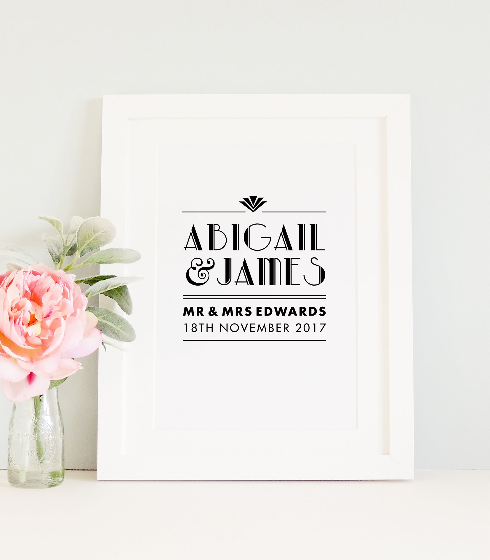 Personalised art deco wedding print