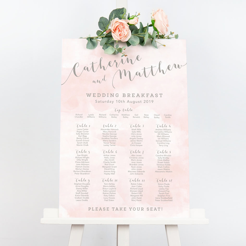 Blush Romance watercolour wedding table plan