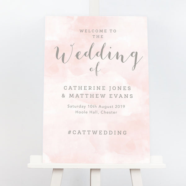 Romance blush pink wedding welcome sign