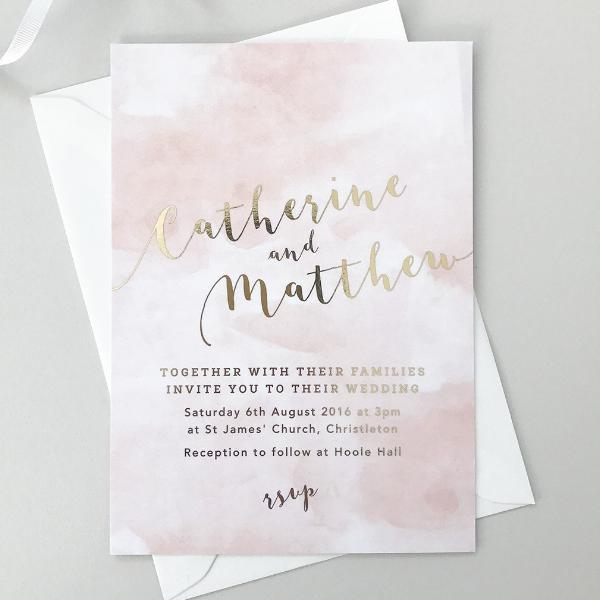 Foil printed Romance Wedding Invitations