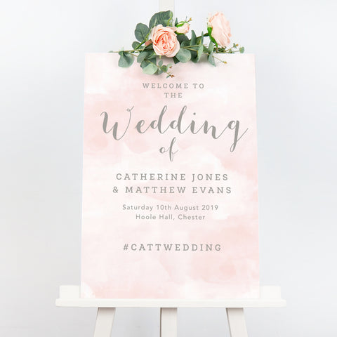 Blush pink Romance wedding welcome sign