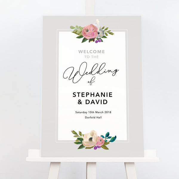 Grey floral Sadie wedding welcome sign