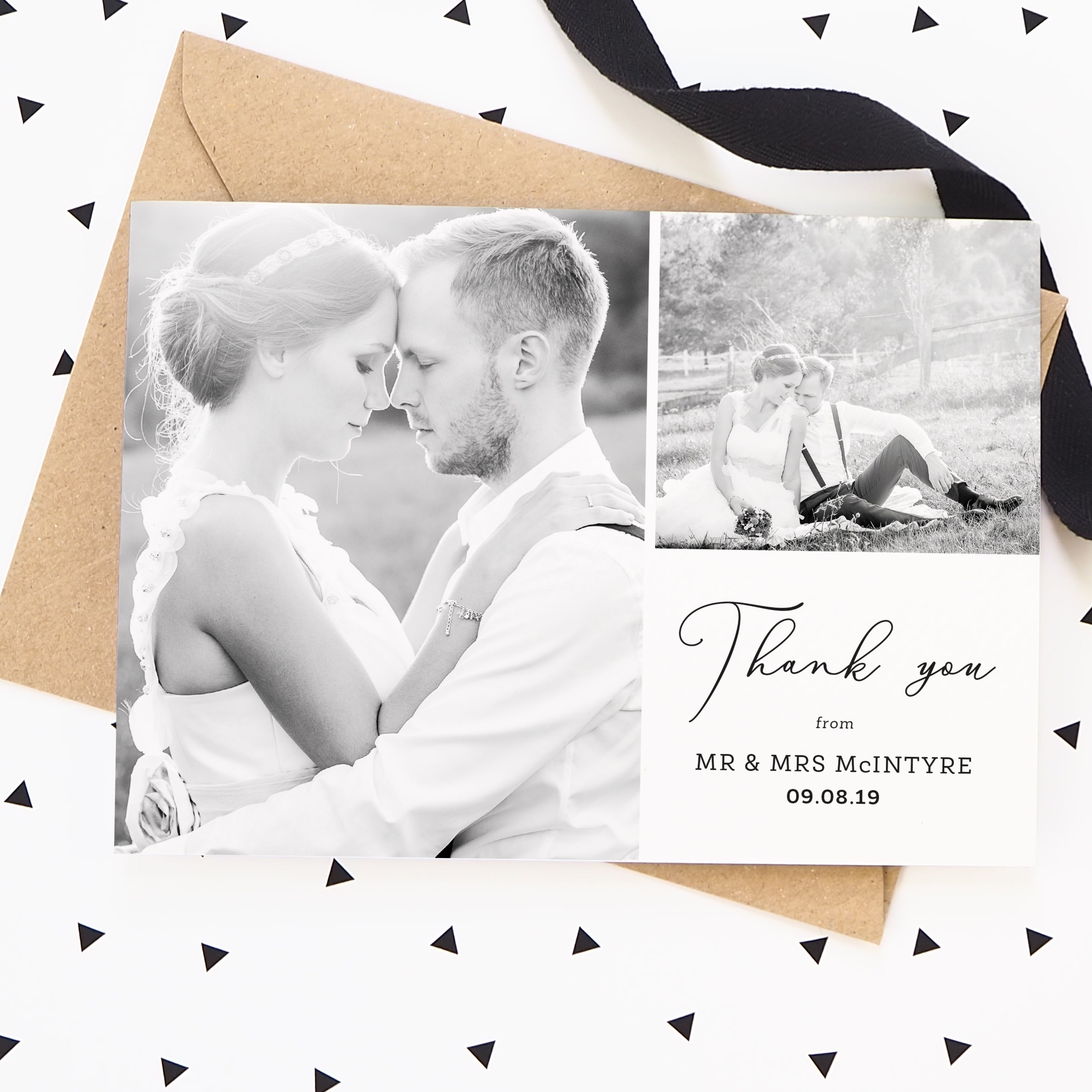 Scprit Collage Wedding Photo Thank You Cards