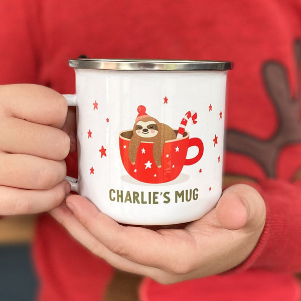 Personalised Sloth Christmas Enamel Mug