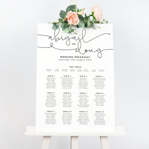 Kate minimalist wedding seating chart