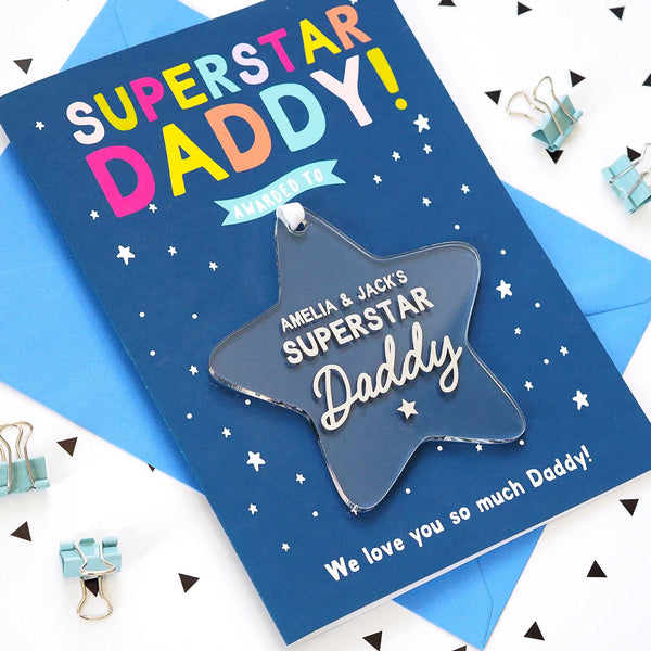 Personalised 'Superstar Daddy' Keepsake Father's Day Card