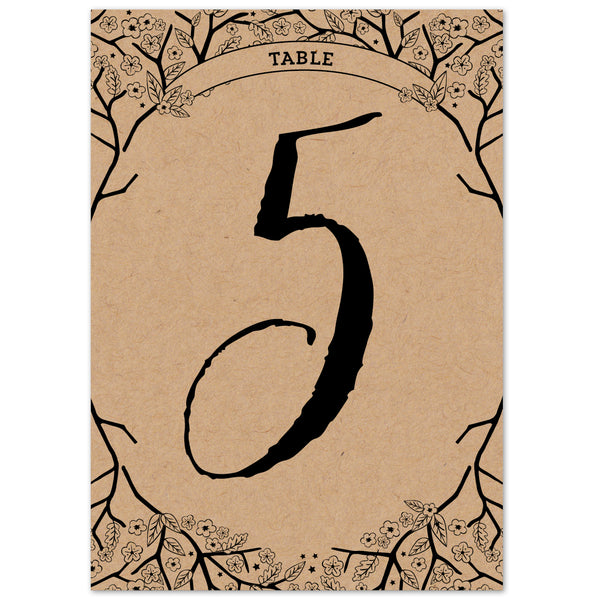 Enchanted Forest Kraft table numbers