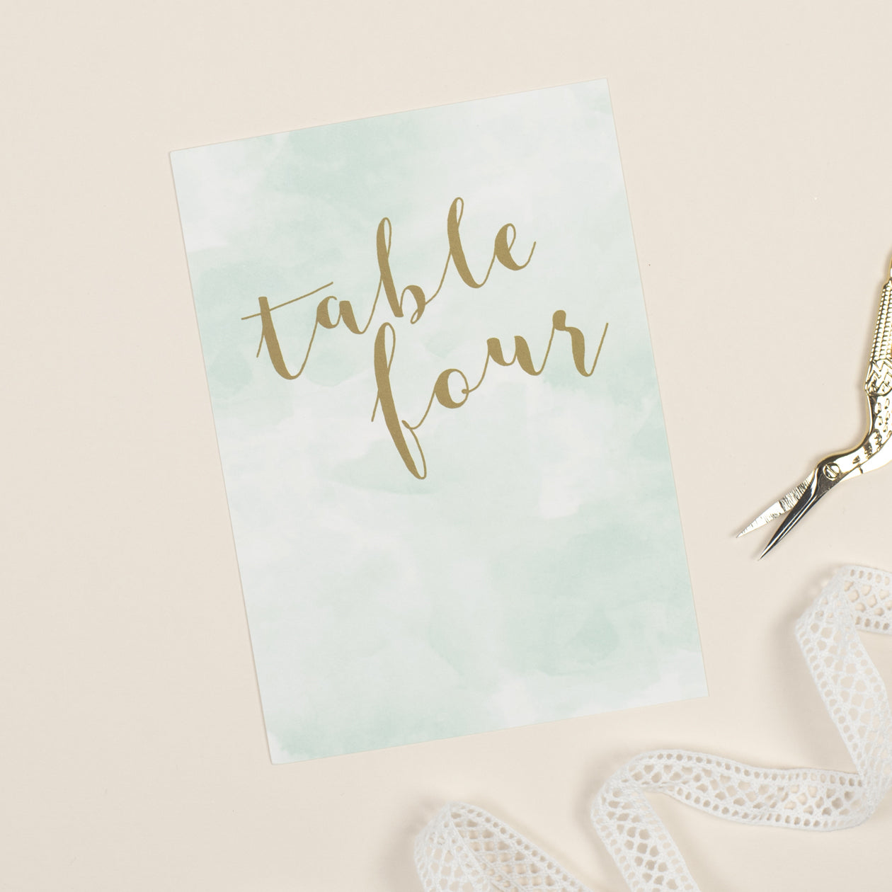Mint Romance table numbers