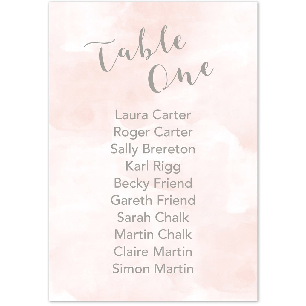 Romance table plan cards
