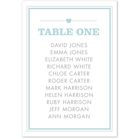 Amelia table plan cards