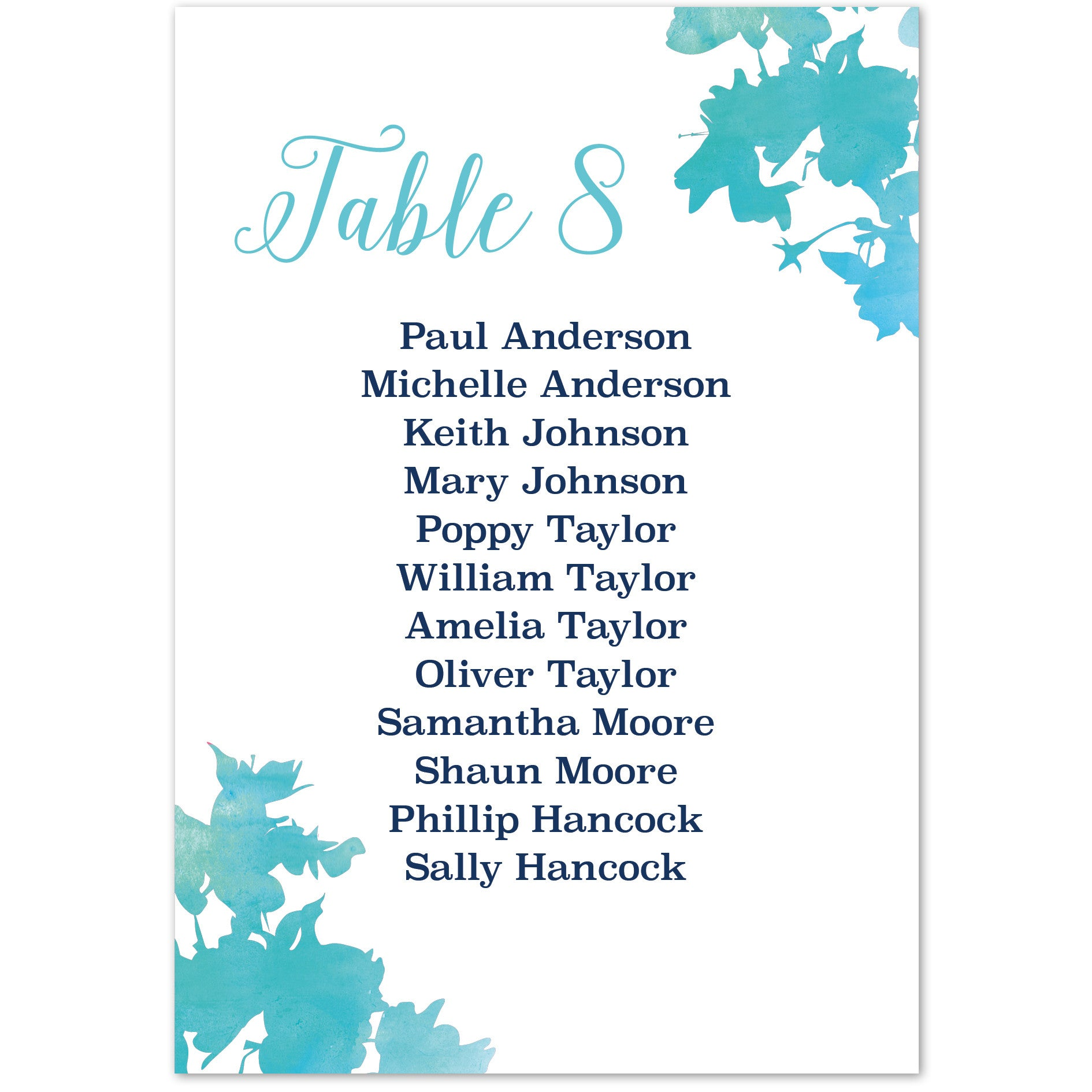Blossom table plan cards