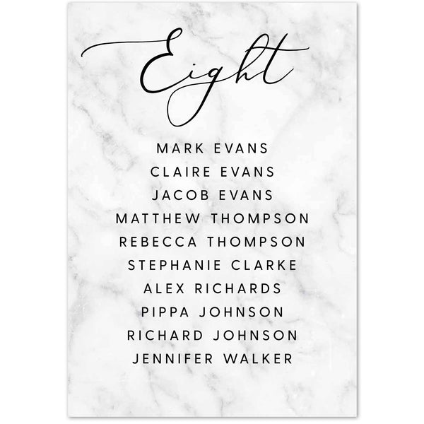 Monochrome marble table plan cards