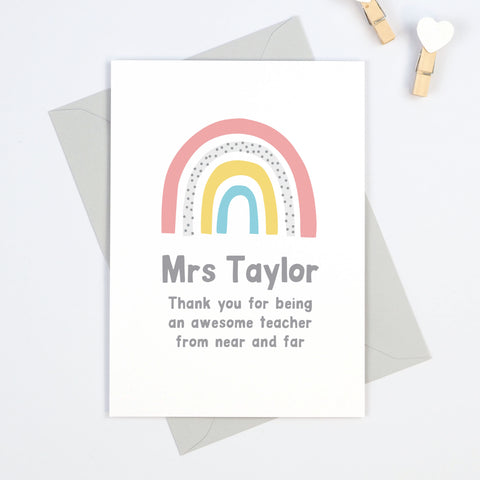 Rainbow personalised teacher thank you card