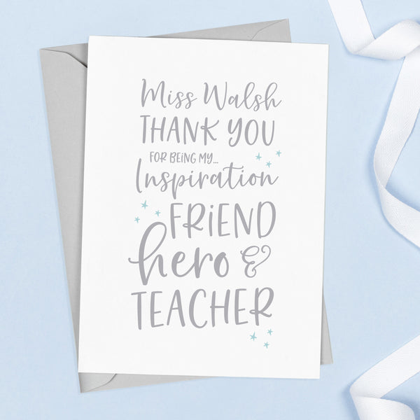 Typographical teacher thank you card