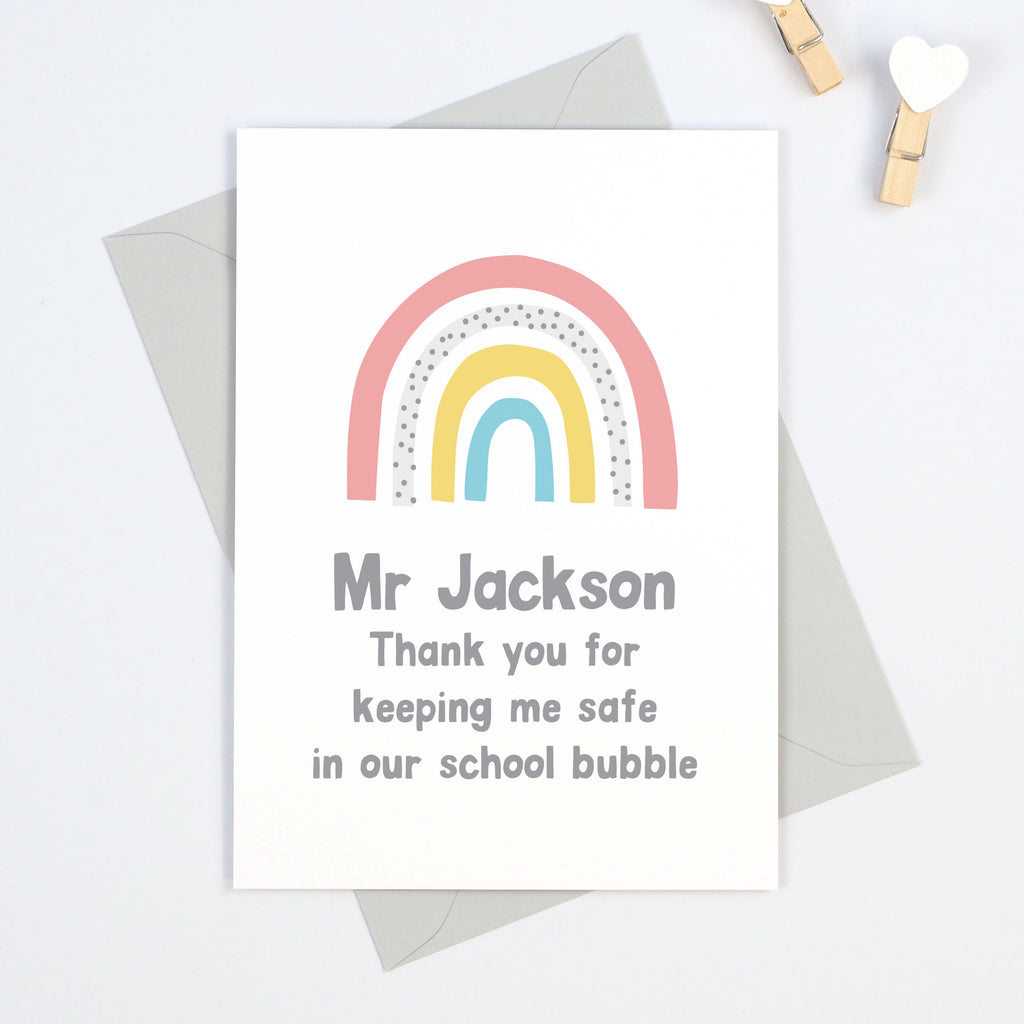 Rainbow personalised school bubble teacher thank you card