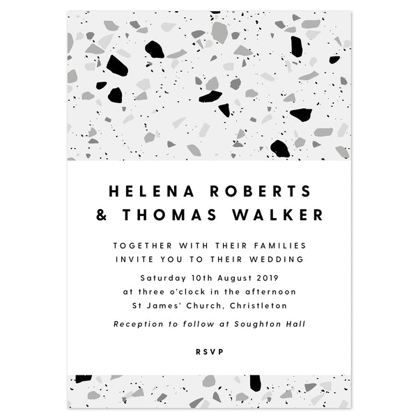Terrazzo monochrome Wedding Invitation